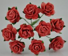 1.5cm CORAL RED Mulberry Paper Roses